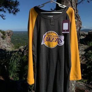 MAJESTIC NBA Lakers 3/4 Sleeve Logo Shirt NWT SZ L